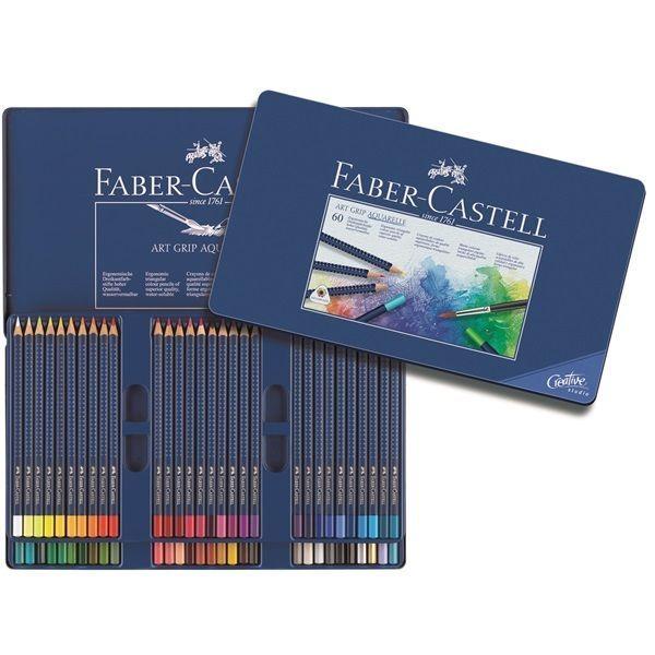 Faber-Castell Watercolour Pencil Art Grip Aquarelle Tin of 60 Professional #FaberCastell
