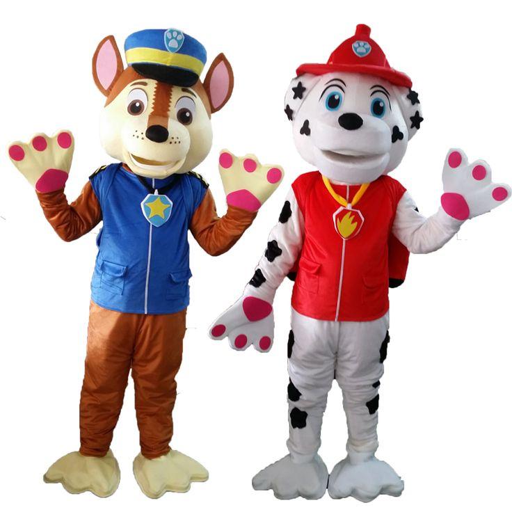 High Quality Adult Policeman Fireman Patrol Dog Mascot Costume Fancy Dress Suit Christmas Cospaly Cartoon Mascot Costume