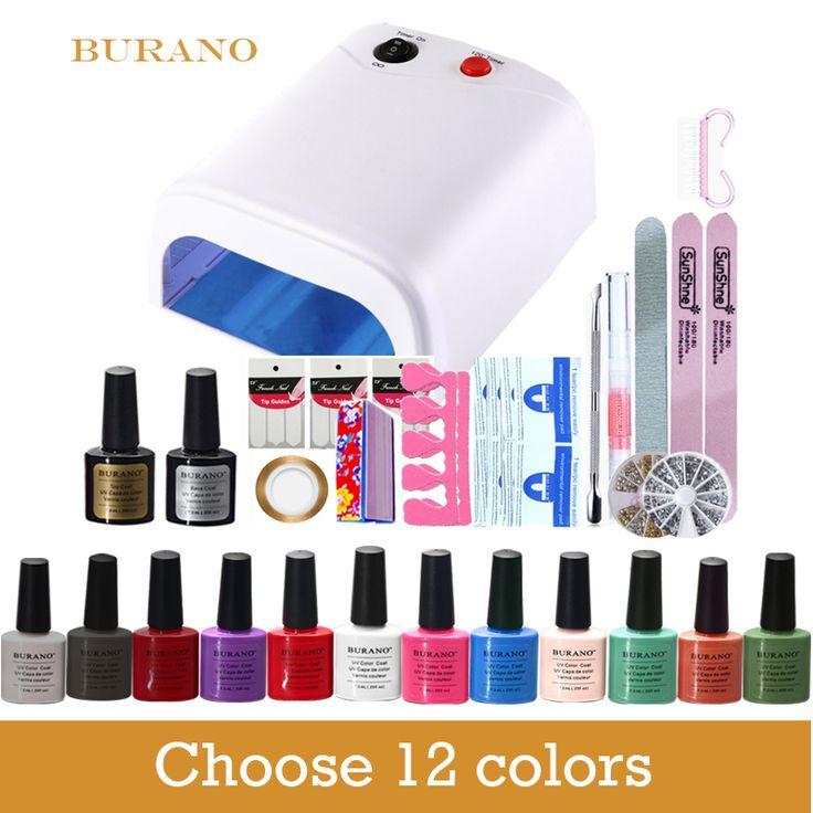 New Arrival Soak-off Gel polish Top & Base Coat gel nails polish kit 36w white lamp 12 colors art tools kits sets manicure set