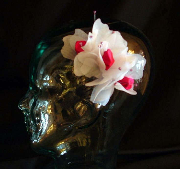 Cut organza, silk crystal stamens. $85 CAD (2013)