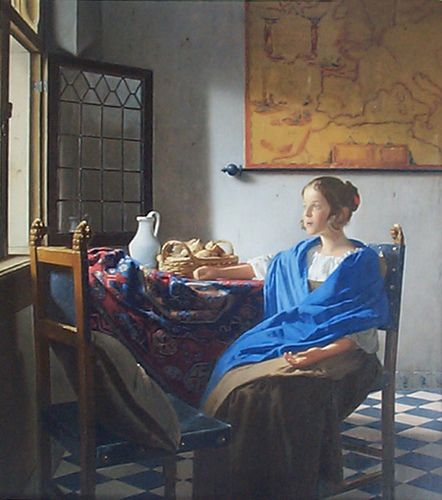 """""""Girl in Hyacinth Blue"""" ~ Vermeer. The figure is in  box with an opening through the window to the outside world. The map (places above her head like a cartoon thought bubble) on the wall is a signifier of that outside world."""