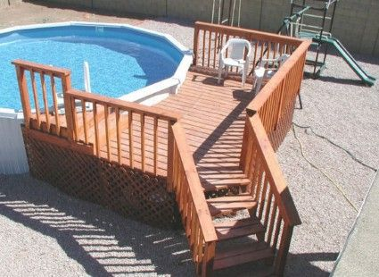 http://www.bawtie.com/coolest-above-ground-pool-deck-designs/ Coolest Above Ground Pool Deck Designs : Wood Pool Deck Design With Above Ground Pool Deck