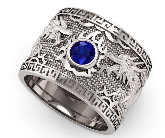 Gold Sapphire Ring Men S Wedding Band Big Jewelry Ring