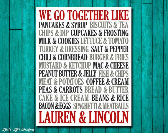 We Go Together Like Custom Wedding Gift. Personalized Wedding Gift. Wedding Newlywed Gift. Kitchen Artwork. Kitchen Decor. Valentines Day