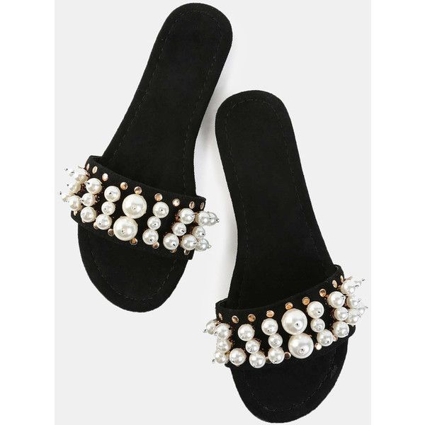 Open Toe Faux Pearl Slide Sandals BLACK ($22) ❤ liked on Polyvore featuring shoes, sandals, black, flat shoes, metallic shoes, flat pumps, black slide sandals and black flat shoes