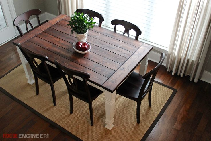 Free detailed, step-by-step plans for a beautiful farmhouse dining table that will actually fit in your dining room!