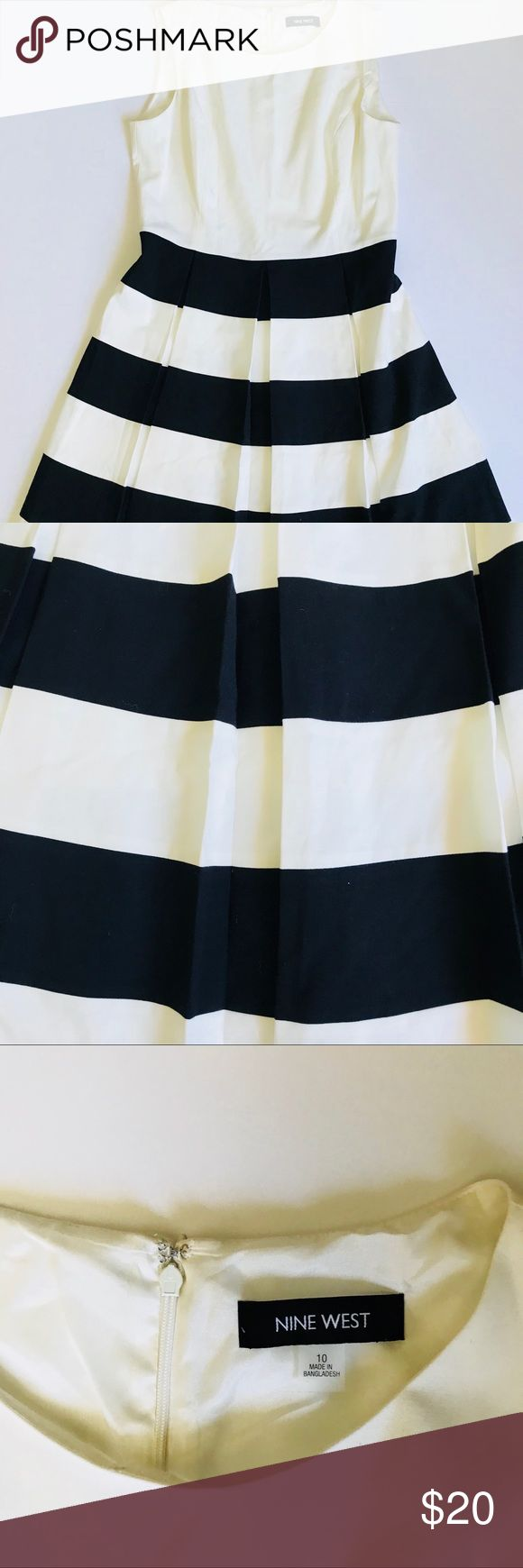 Nine West sleeveless crewneck striped dress Dress is in excellent condition let me know if you have any questions. Offers are welcomed Nine West Dresses