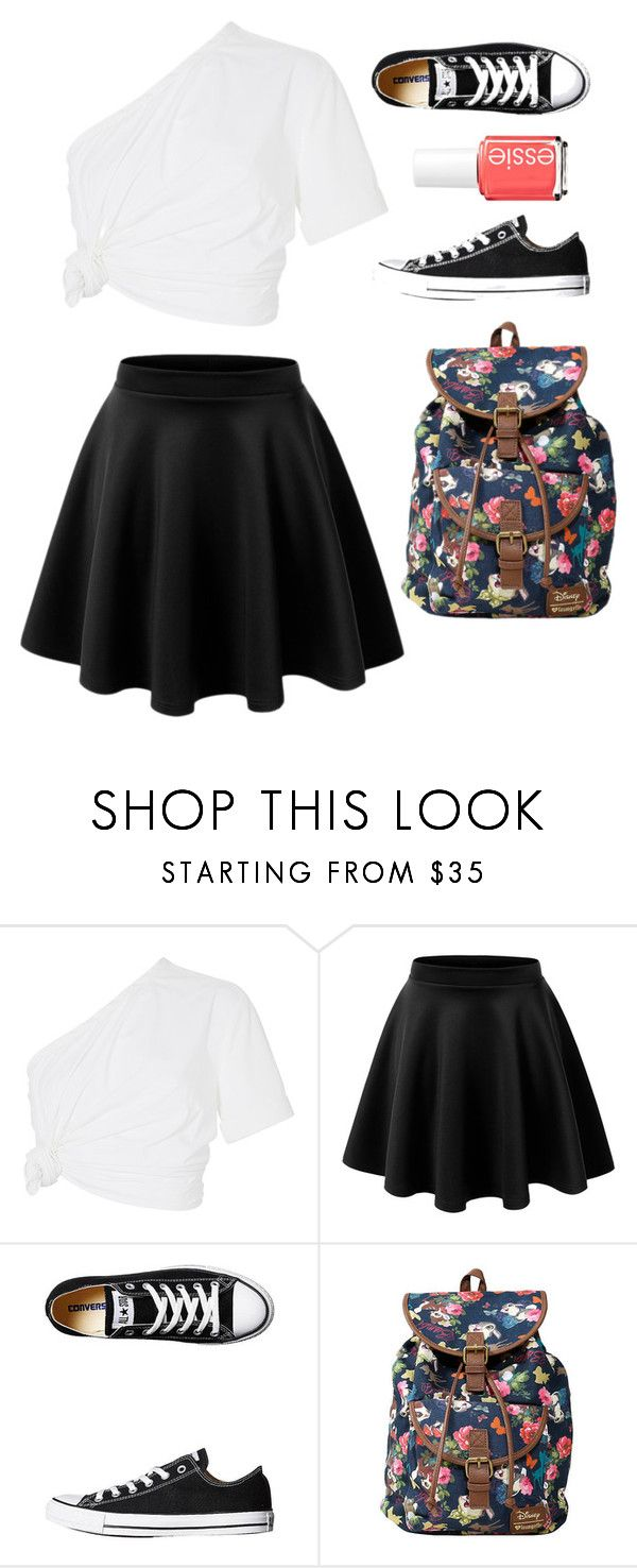 """""""#53"""" by dmartens388 ❤ liked on Polyvore featuring Rosie Assoulin, LE3NO, Converse, Disney and Essie"""