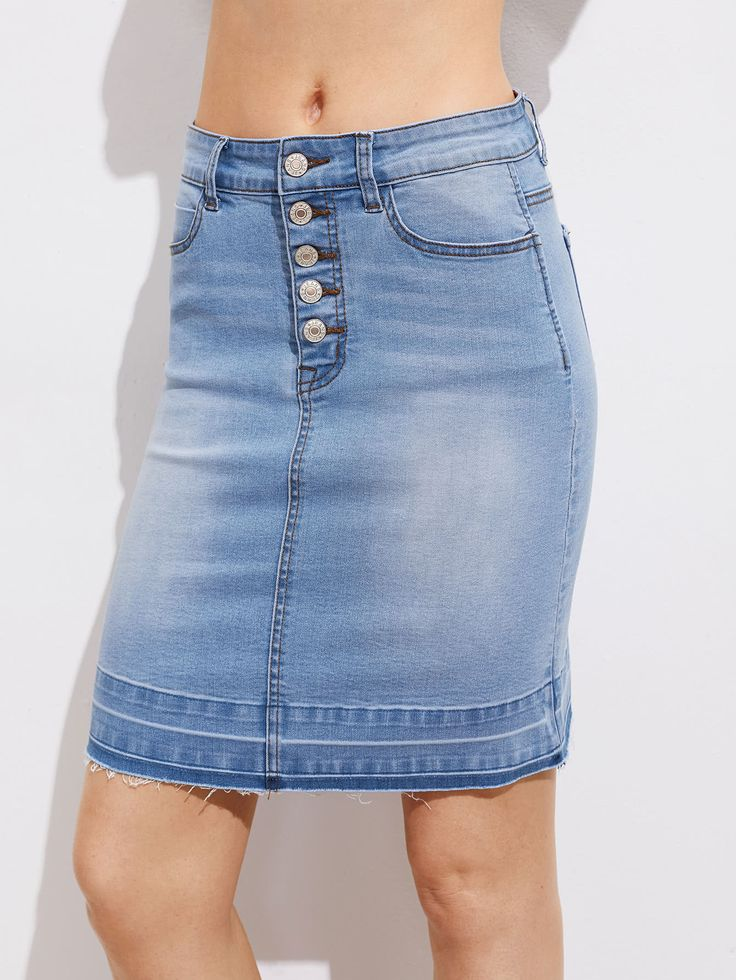 Shop Buttoned Fly Vented Back Bleach Wash Denim Skirt online. SheIn offers Buttoned Fly Vented Back Bleach Wash Denim Skirt & more to fit your fashionable needs.