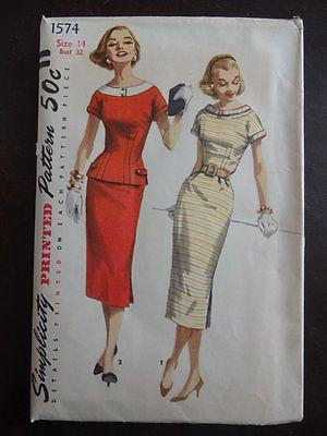 Smashing and RARE Vintage Simplicity Sewing Pattern 1574 Wiggle Dress 14 | eBay