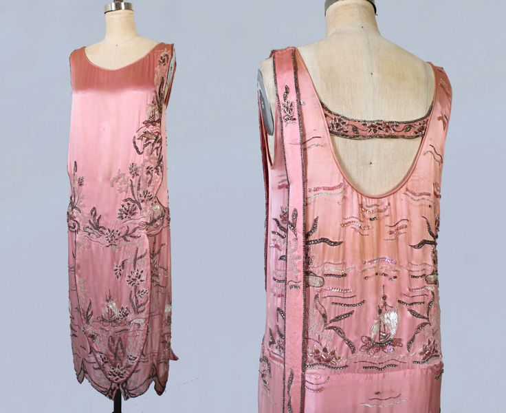 RESERVED 1920s Dress / Pink Satin 20s Flapper Dress / Chinoiserie / Beaded Sequined and Rhinestoned / Open Back / WHALES And FISH by GuermantesVintage on Etsy https://www.etsy.com/listing/265138345/reserved-1920s-dress-pink-satin-20s