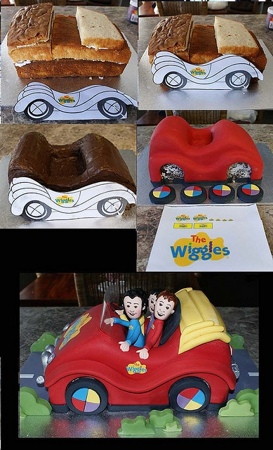 Here's a simple step by step guide to shaping your own Big Red Car cake! #TheWiggles #WigglyParty