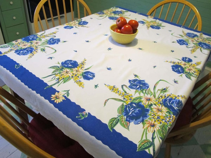 Exceptional Tablecloth Cotton Kitchen Blue And Yellow