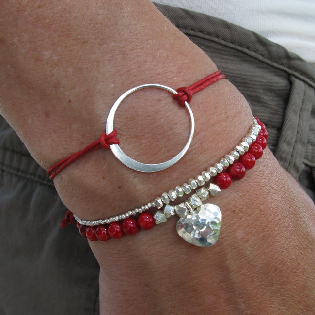 Red Friendship bracelet With Silver Circle