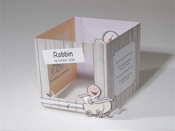 Cartoon geboortekaartje met lachende baby in kinderwagen. Kaartnummer 61.209, vanaf € 1,59 per stuk.
