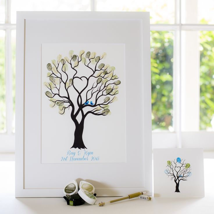 Unity Tree - Blue birds guest book for Wedding, funeral or other celebration. Illustrated by Ray Carter - The Fingerprint Tree® Made-to-order, ships worldwide. The Fingerprint Tree®, bespoke gifts you'll treasure!