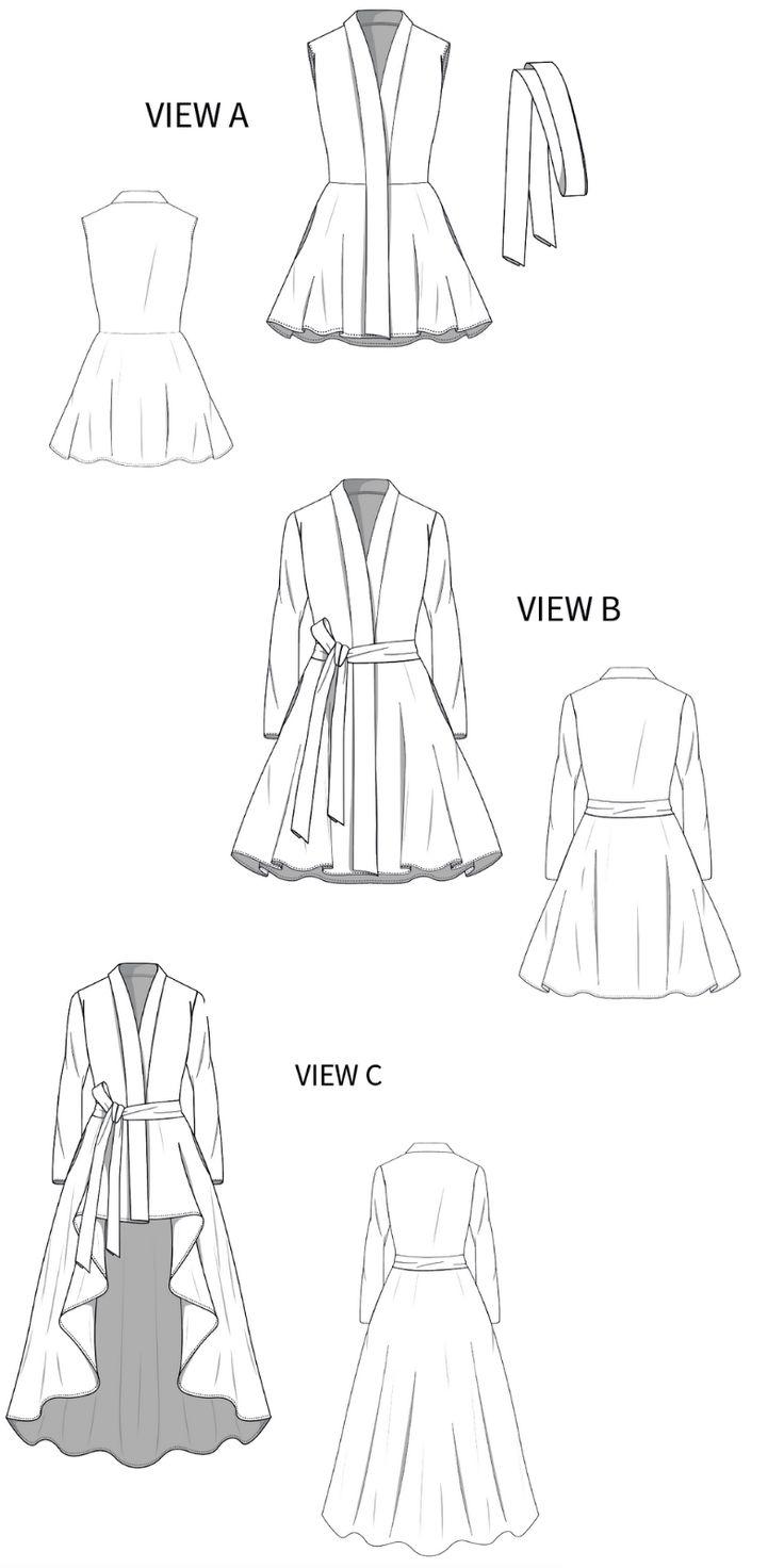 Wrap Coat Dress Sewing Pattern