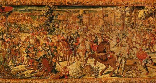 Bataille de Pavie, Musée de Naples.- Pavie est défendue par Antonio de Leiva et reçoit les renforts du vice-roi de Naples, Charles de Lannoy. Mal conseillé par Bonnivet et malgré l'avis de Louis de la Trémoille, François I° engage la bataille dans la hâte. L'artillerie, mal placée, doit cesser le feu sous peine de tirer dans les rangs français. L'armée ne peut résister aux troupes impériales; Bonnivet, La Palice et La Trémoille sont tués.