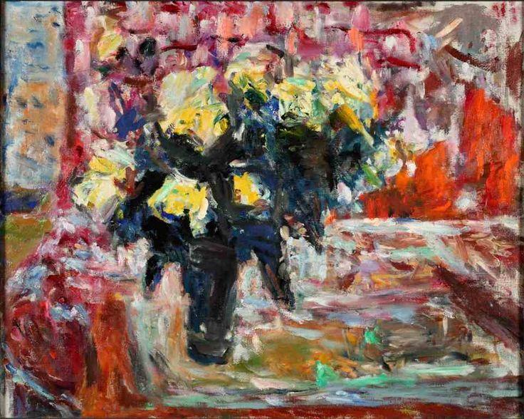 Róże herbaciane, ostatnia praca artystki, po lewej stronie płótna można dostrzec zarys twarzy artystki