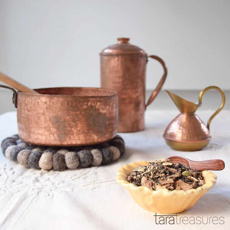Making chai tea with our vintage copper ware