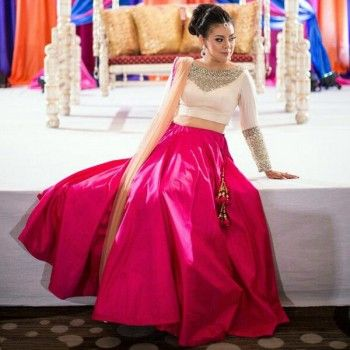 Poly Silk Plain Pink Semi Stitched Lehenga - Z1032