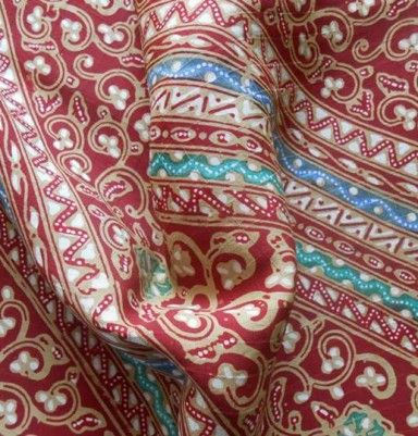 Natural Color Silk Batik – Line & Flower Motif