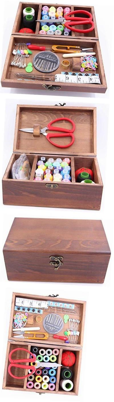 Sewing Boxes and Storage 83965: Wooden Sewing Kit Set, Wooden Sewing Basket, Brown Sewing Sewing Storage With -> BUY IT NOW ONLY: $45.86 on eBay!