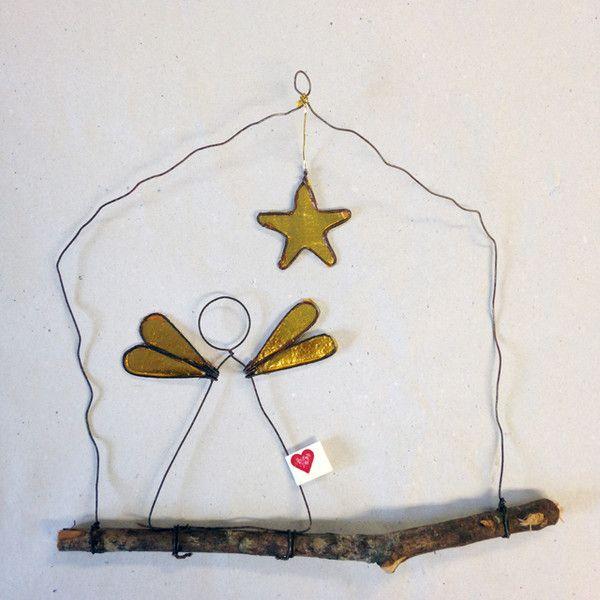 Wanddeko - Drathbild - mit Stern und Engel - ein Designerstück von kunstbedarf24 bei DaWanda