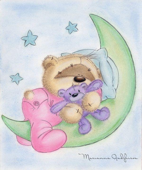 Enfeita de Porta - Ursinho Dormindo na Lua com Ursinho no Colo e Travessiro