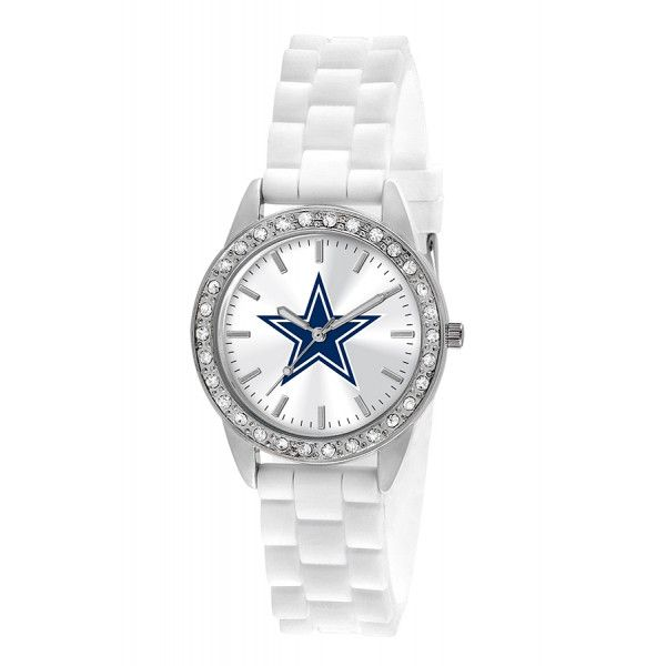 The Dallas Cowboys Watch has a comfortable silicone watch band and features crystal stones around the bezel. The Dallas Cowboys logo is proudly displayed in full color on the dial. The Women's Dallas