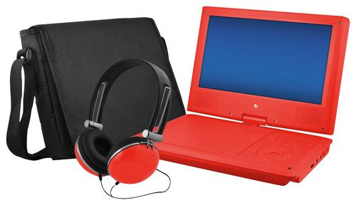 "Ematic - 9"" Portable DVD Player with Swivel Screen - Red"