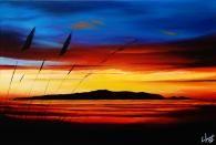 Fire Lit Sunset Over Kapiti Island, New Zealand