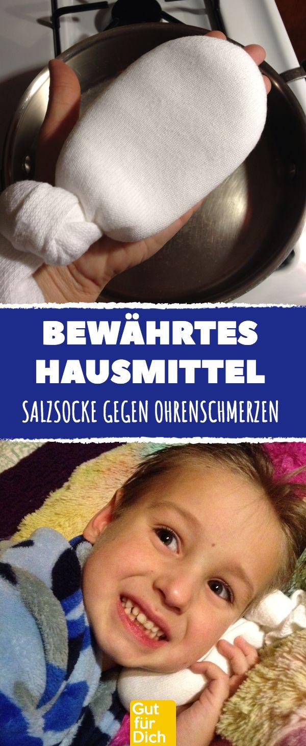 Bewährtes Hausmittel: Salzsocke gegen Ohrenschmerzen. DI