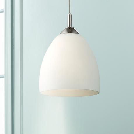 106 best mini pendants images on pinterest kitchen lighting raked brighten your home with this contemporary brushed steel pendant light featuring a gorgeous opal glass shade aloadofball