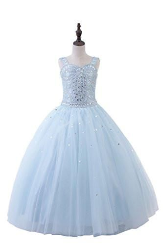 PuTao Little Girl's Straps Crystal Kids Party Ball Gowns Pageant Dresses 2 Blue
