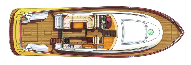 Main deck – Mochi Craft – Dolphin 54′ Flybridge #yacht #luxury #ferretti #mochi