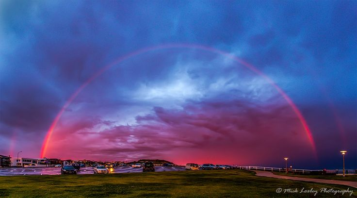 Belt of Venus Rainbow. Bar Beach Newcastle - 07 Dec 14. A storm had pushed off the coast last Sunday just on sunset and the falling rain resulted in this rainbow appearing. Due to the time of day, the rainbow also picked up that BOV colour. It is something I have never seen before and I was very happy I was there to capture it.