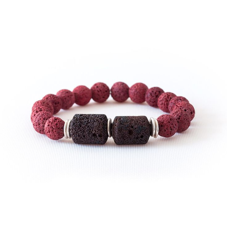 RED BROWN LAVA BEAD BRACELET Red and Brown lava beads. Lava is one of the warmest materials. Earth's molten core on your hand.