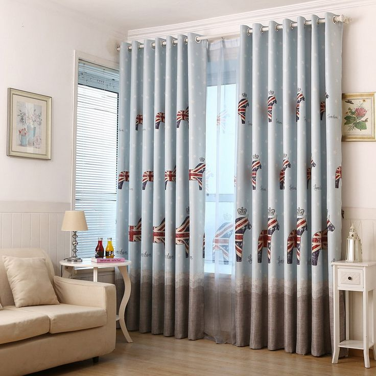 European style cartoon cute pony fabric children kids curtains for living room bedroom window shade cloth for bay window #Affiliate