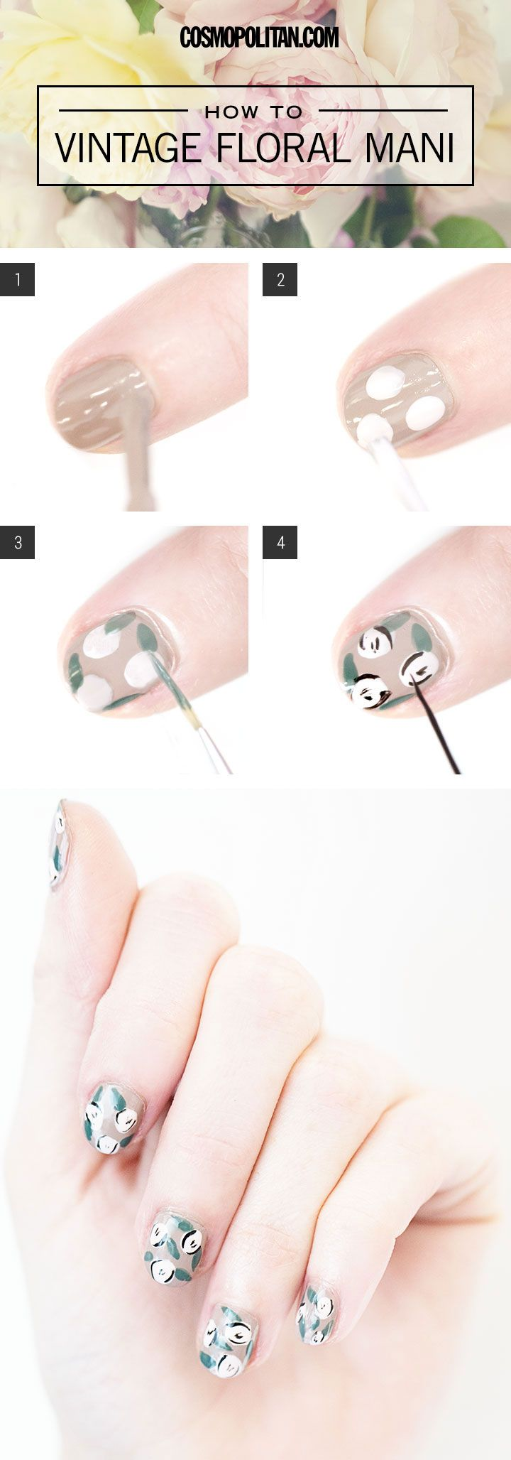 Recreate this adorable vintage-looking floral mani for yourself!
