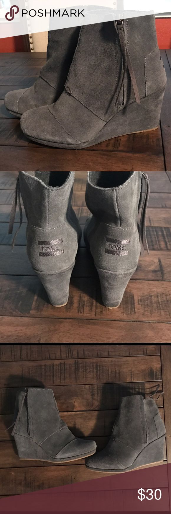TOMS Desert Wedge High Dark Grey Suede Dark grey suede wedges. Size 8.5 only worn a few times, in great shape. TOMS Shoes Wedges