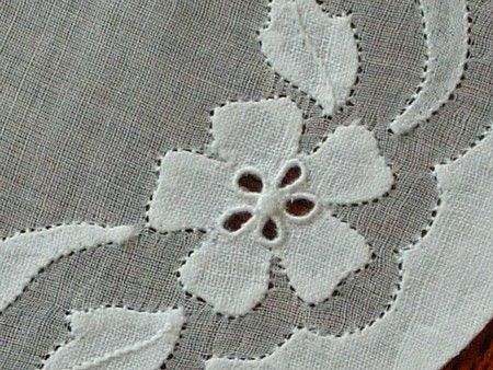 Em's Heart Antique Linens -Vintage Madeira Applique Organdy Cocktail Napkins