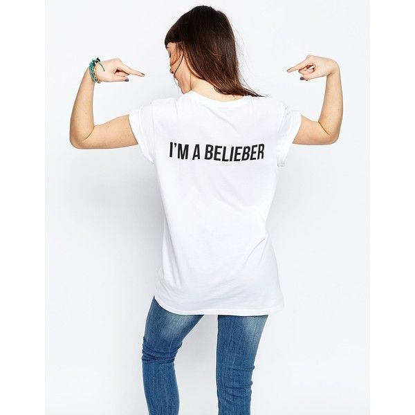 ASOS Boyfriend T-Shirt Justin Bieber Im A Belieber Print ($31) ❤ liked on Polyvore featuring tops, t-shirts, pattern t shirt, asos t shirts, boyfriend tops, boyfriend tank top and asos