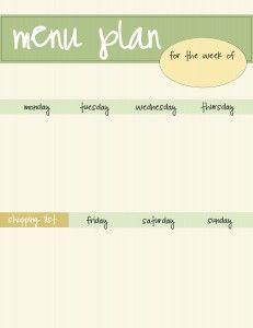 green menu planner - free printable