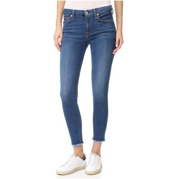 7 For All Mankind b(air) Ankle Skinny Jeans with Raw Hem (9,020 PHP) ❤ liked on Polyvore featuring jeans, new luxe, cuff jeans, zipper skinny jeans, lightweight jeans, frayed skinny jeans and ankle length skinny jeans