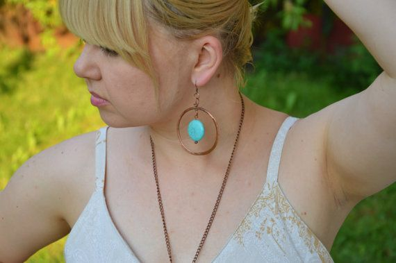 hammered copper earrings copper jewelry copper by CopperFinger