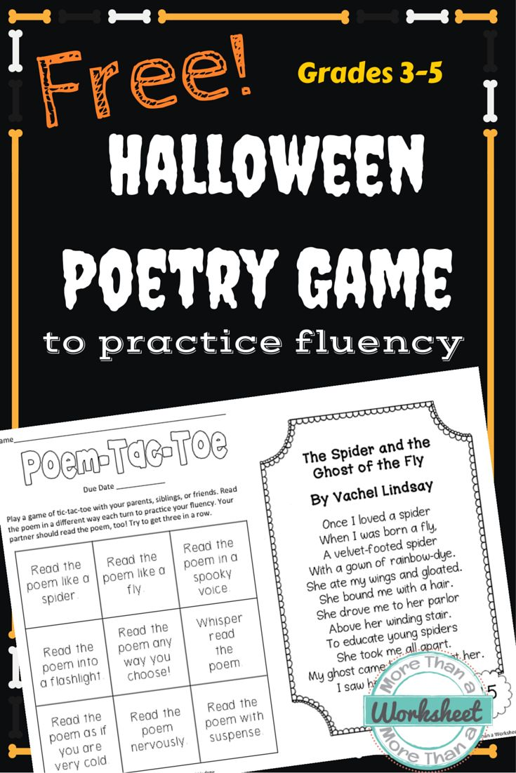Free Halloween Poetry Game Last Minute The Fly And Plays