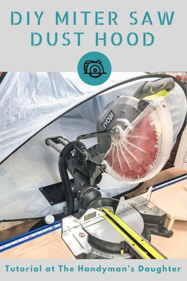 Keep sawdust under control with this miter saw dust hood! This simple idea is the perfect miter saw dust collection solution! | woodworking | sawdust control | miter saw idea | workshop idea