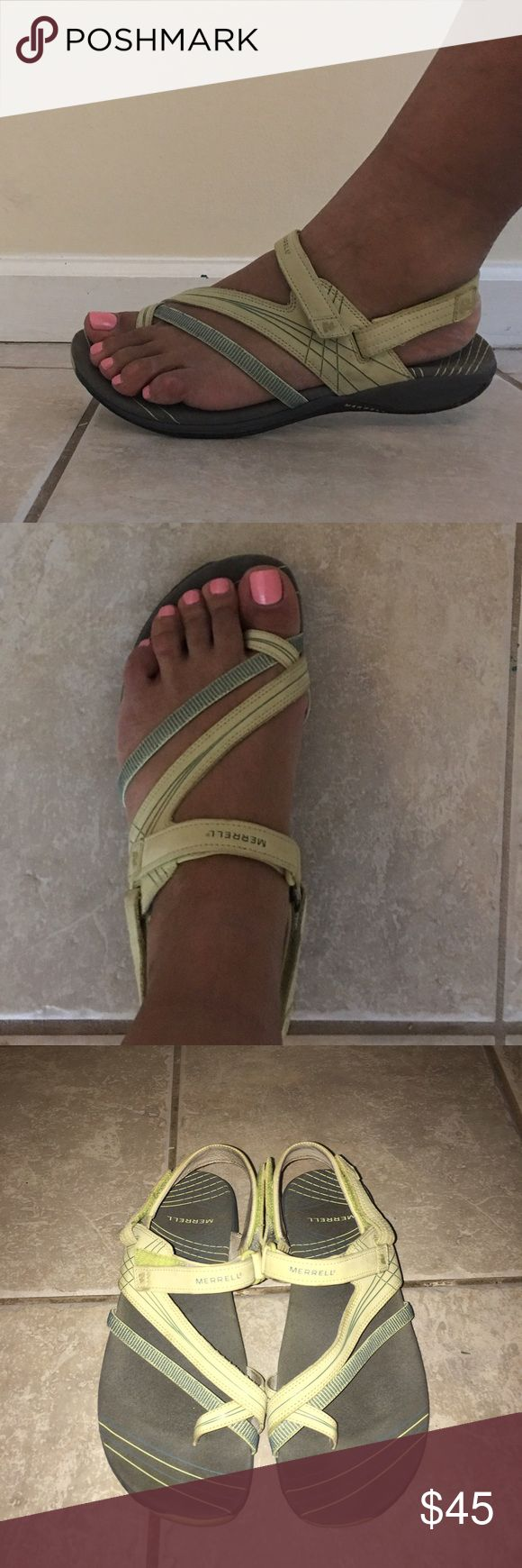 Merrell Sandals These adorable Merrell sandals are very comfortable. These sandals are a pale lime, gray and blue color. They wear like a sneaker, but allow your feet to breathe. In excellent condition. Merrell Shoes Sandals