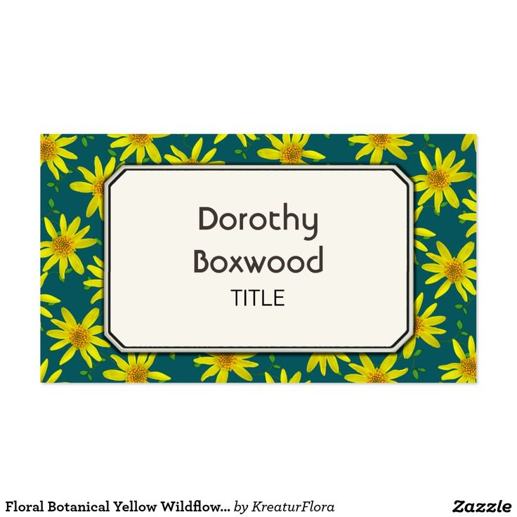 Floral Botanical Yellow Wildflowers Customizable Business Cards
